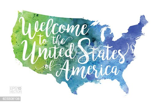 Welcome To The United States Of America Vector Watercolor Map Stock ...