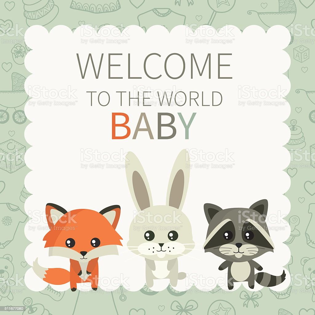 Welcome to the world vector art illustration