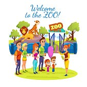 Welcome to Zoo Banner, Happy People, Visitors and Guide Stand at Entrance to Animal Park with Lion, Tiger and Monkey Behind of Fence, Loving Couple, Parents with Kids Cartoon Flat Vector Illustration