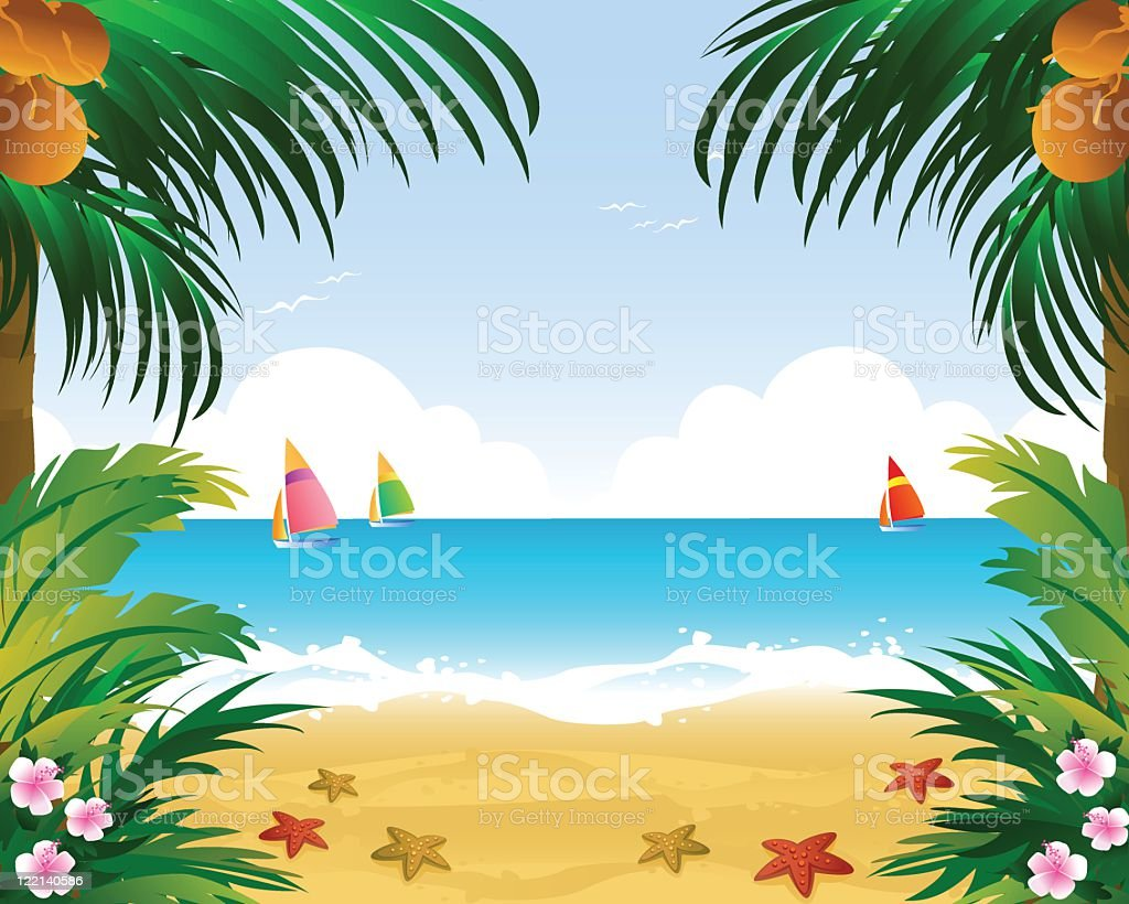 welcome to tropical paradise vector art illustration