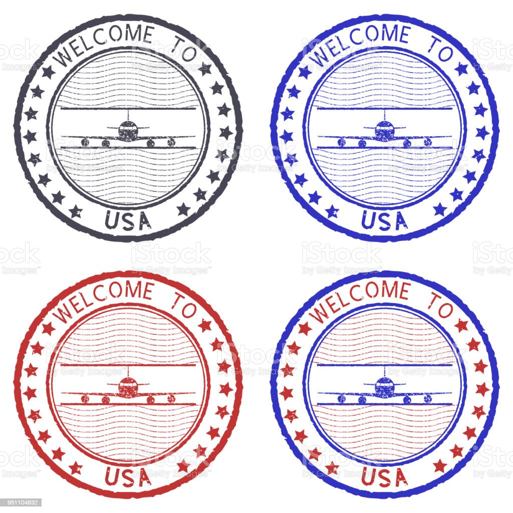 welcome to usa round ink stamps stock vector art more images of