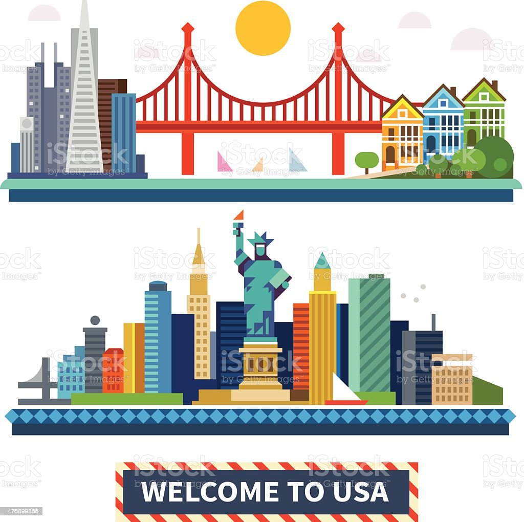 Welcome to USA vector art illustration