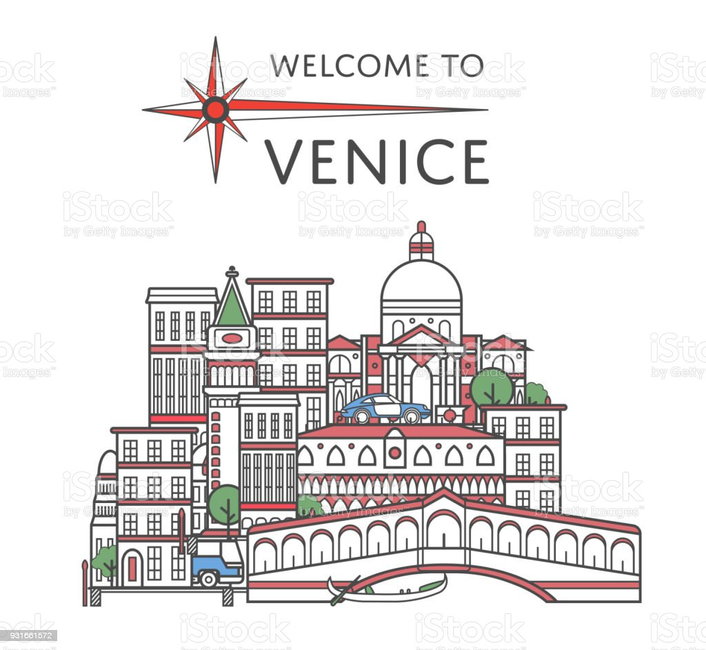 Welcome to Venice poster in linear style vector art illustration