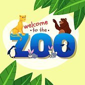 African and Forest Animals Welcome Kids to Zoo Sitting around Huge Word Zoo with Jungle Leaves, Lioness, Bear, Penguins and Funny Jumping Rabbits Wildlife. Cartoon Flat Vector Illustration, Banner