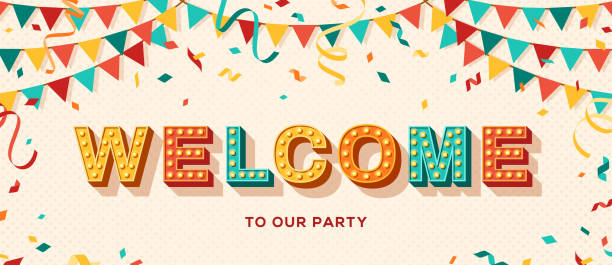 Welcome typography banner Welcome card or banner with typography design. Vector illustration with retro light bulbs font, streamers, confetti and hanging flag garlands. welcome sign stock illustrations