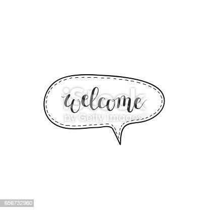 Welcome Vector Handwritten Word In A Speech Bubble Stock