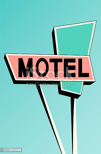 Creative concept travel vector illustration hotel hostel motel sign signboard on the road.