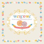 "Vintage frame with ""Welcome"" text message. Vector. EPS 8."