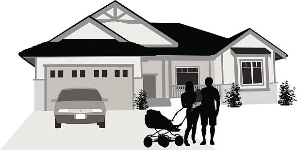 Welcome Vector Silhouette A-Digit driveway stock illustrations