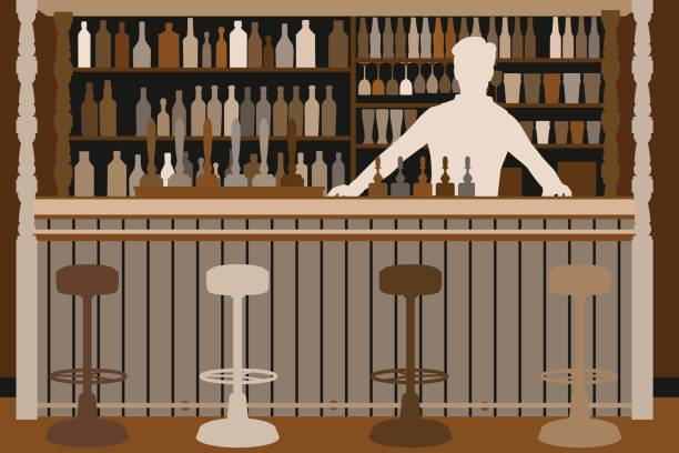 Welcoming barman vector art illustration