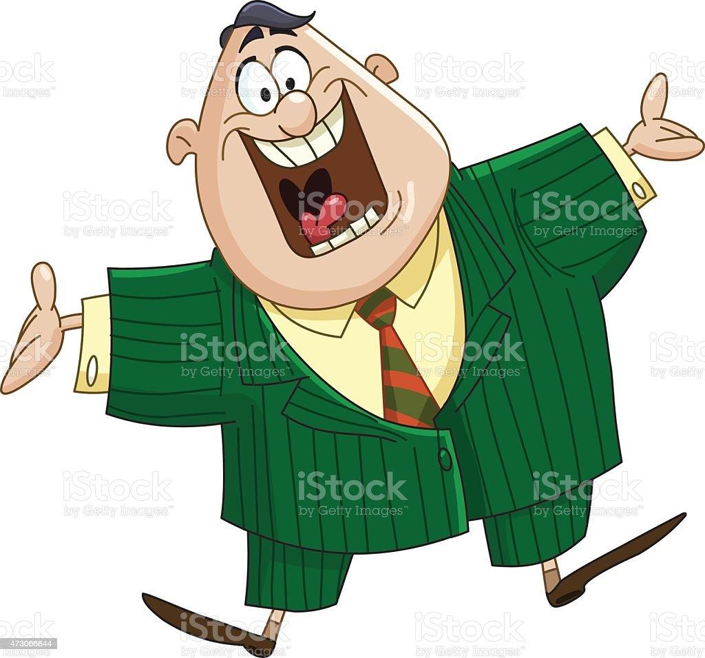 Welcoming business man vector art illustration