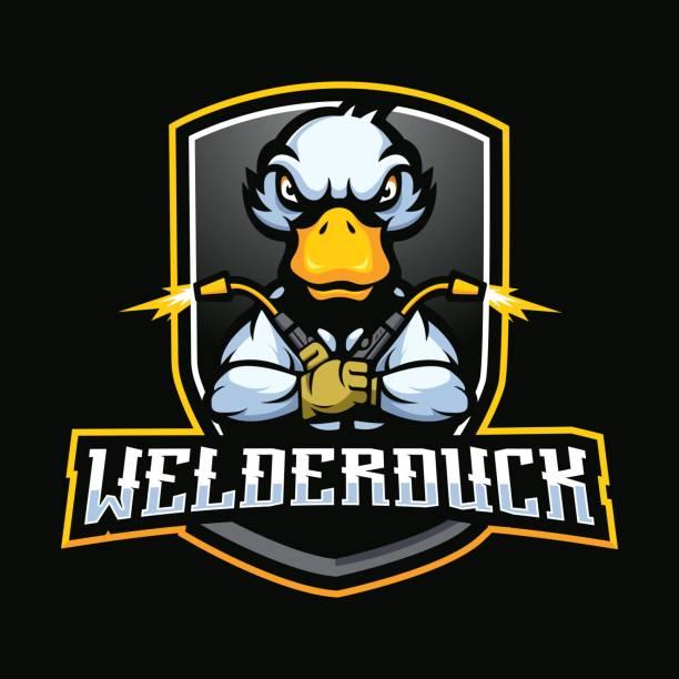 welder duck Welder Duck mascot cartoon logo design vector ducking stock illustrations