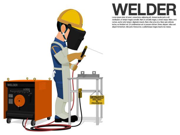illustrazioni stock, clip art, cartoni animati e icone di tendenza di a welder is working on the shop floor - elettrodo