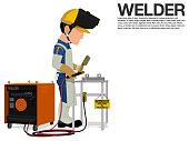 A welder is working on the shop floor