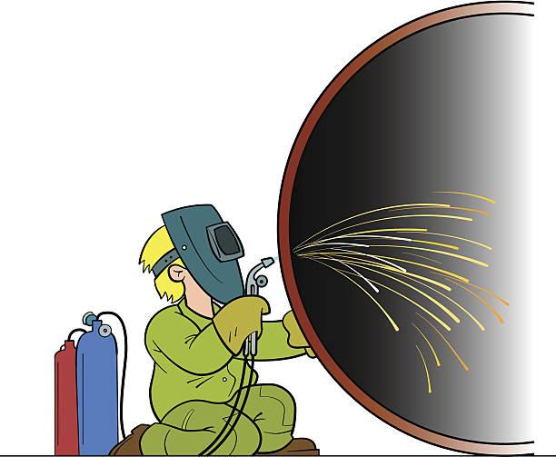 illustrazioni stock, clip art, cartoni animati e icone di tendenza di saldatore riparazioni un enorme tubo - elettrodo