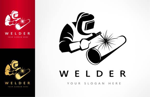 illustrazioni stock, clip art, cartoni animati e icone di tendenza di welder welds a pipe in welding mask symbol vector - elettrodo