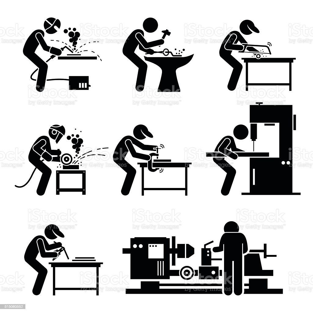 Welder Worker using Metalworking Steelworks Tools and Equipment vector art illustration