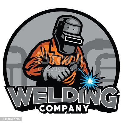 vector of welder working with weld helmet in badge design style