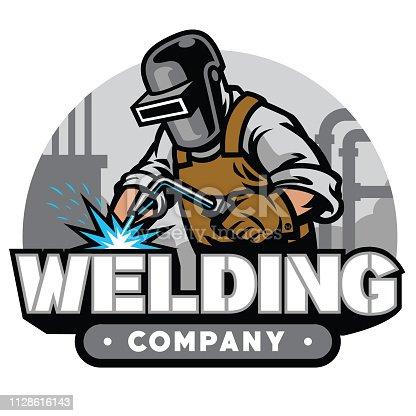 vector of welding company badge