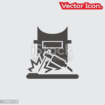 welding icon isolated sign symbol and flat style for app, web and digital design. Vector illustration.