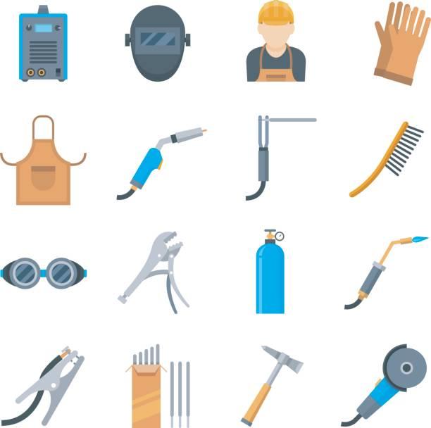 illustrazioni stock, clip art, cartoni animati e icone di tendenza di welding icons in a flat style - elettrodo