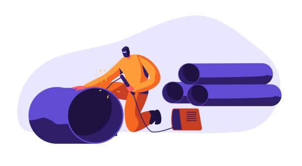 schweißen man steel piping in industrial automotive factory. metallindustrie-arbeiter in schutzmaske und uniform schweißstahl oder eisenpfeife. metallurgie-verarbeitung. cartoon-flach-vector-illustration - metallverarbeitung stock-grafiken, -clipart, -cartoons und -symbole