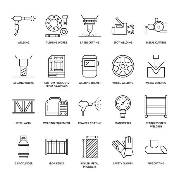 ilustraciones, imágenes clip art, dibujos animados e iconos de stock de los iconos de línea plana servicios de soldadura. laminado en productos de metal, estructuras de acero, corte laser de acero inoxidable, fabricación, convirtiendo obras, equipo de seguridad, capa del polvo. muestra fina industria servicios soldador - manufacturing