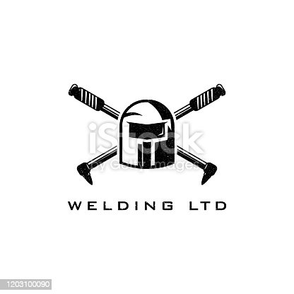 Welding torch logo design. Welder tool vector design. Welding work logotype