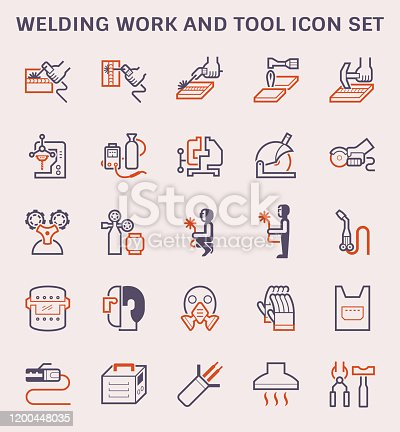 Welding work and tool icon set for welding graphic design element.