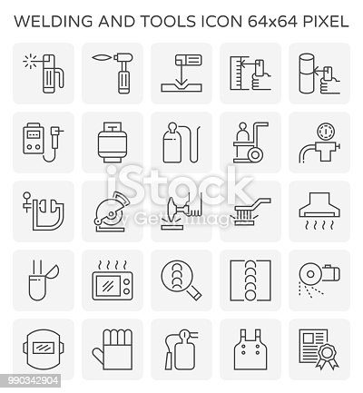 Welding work and tool icon set, 64x64 perfect pixel and editable stroke.