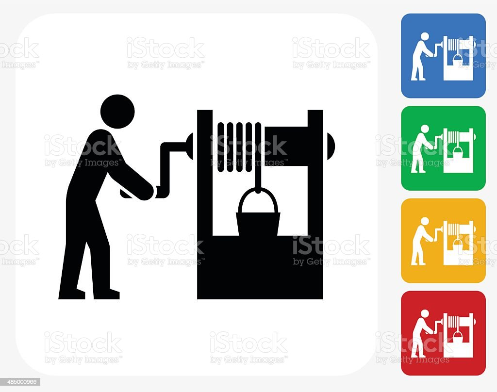 Well Icon Flat Graphic Design vector art illustration