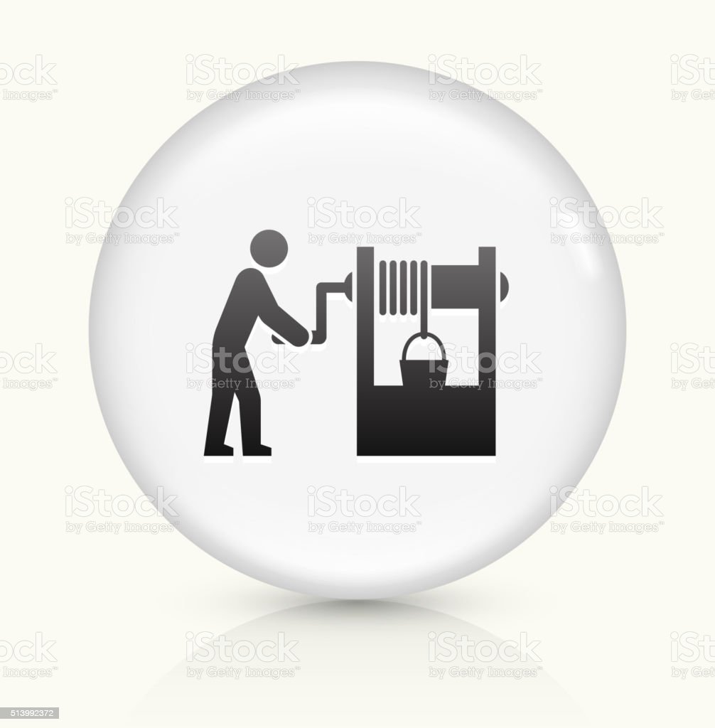 Well icon on white round vector button vector art illustration
