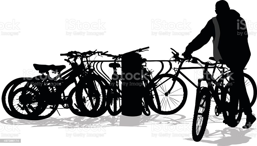 Well Used Bicycle Rack vector art illustration