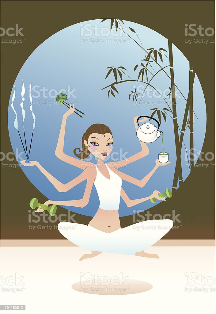 well-being attitude vector art illustration
