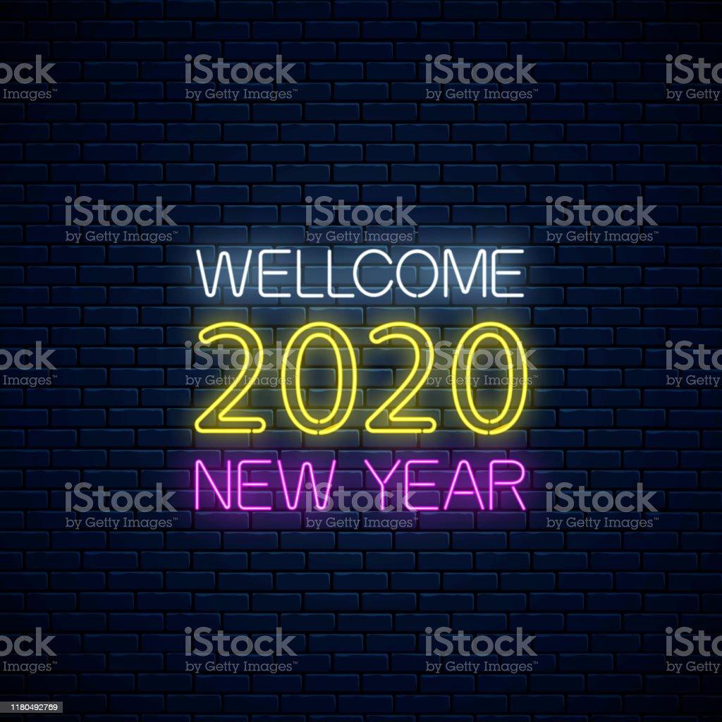 Ilustración De Bienvenida 2020 Año Nuevo Brillante Texto De