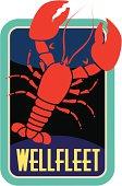 Vector Wellfleet Cape Cod luggage label or travel sticker.