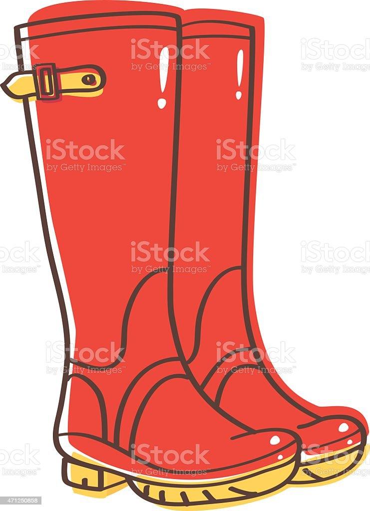 Wellington boots vector art illustration