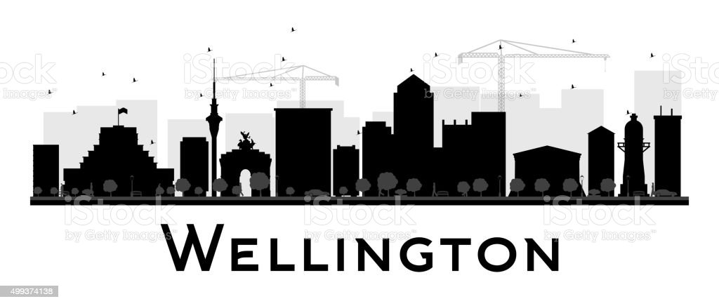 Wellington City skyline black and white silhouette vector art illustration