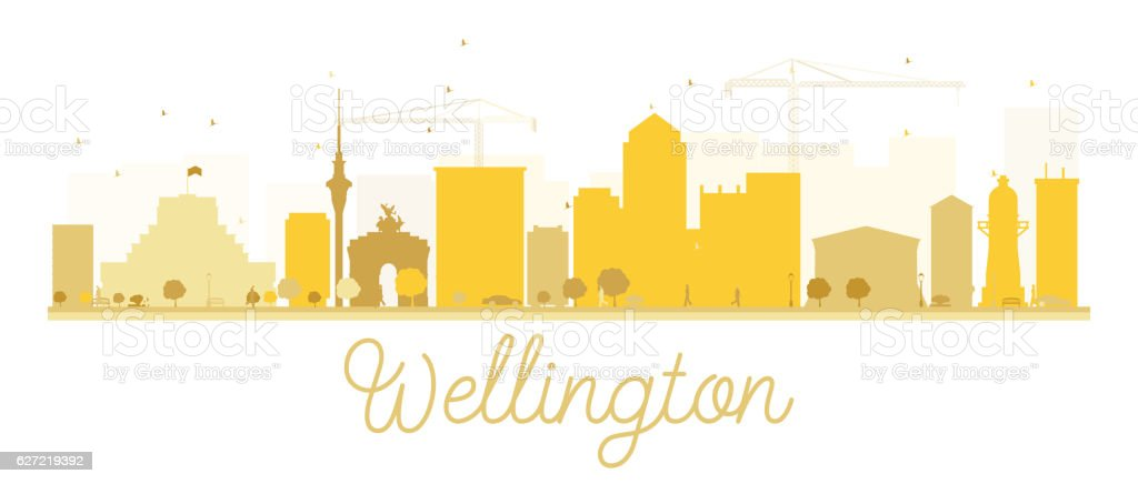 Wellington City skyline golden silhouette. vector art illustration