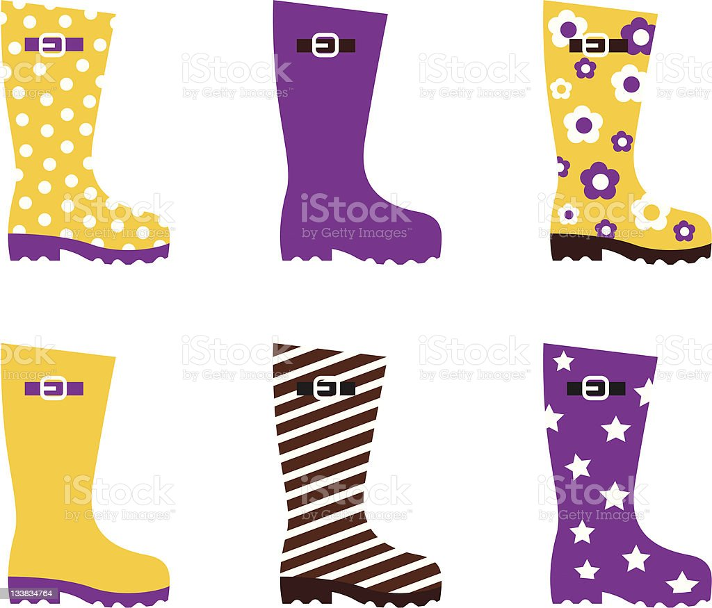 Wellington fashion boots isolated on white - yellow & pink vector art illustration