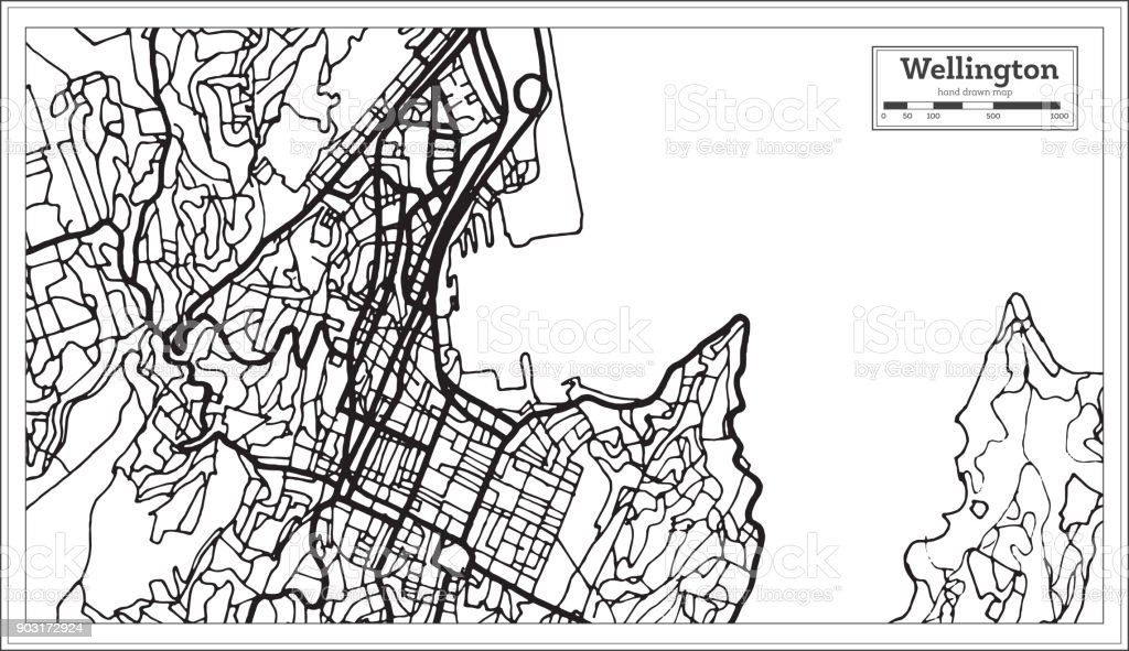 Wellington New Zealand City Map in Black and White Color. vector art illustration