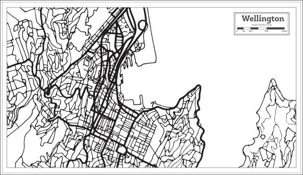 ilustrações de stock, clip art, desenhos animados e ícones de wellington new zealand city map in black and white color. - wellington