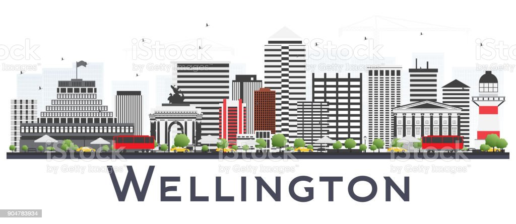 Wellington New Zealand City Skyline with Gray Buildings Isolated on White Background. vector art illustration