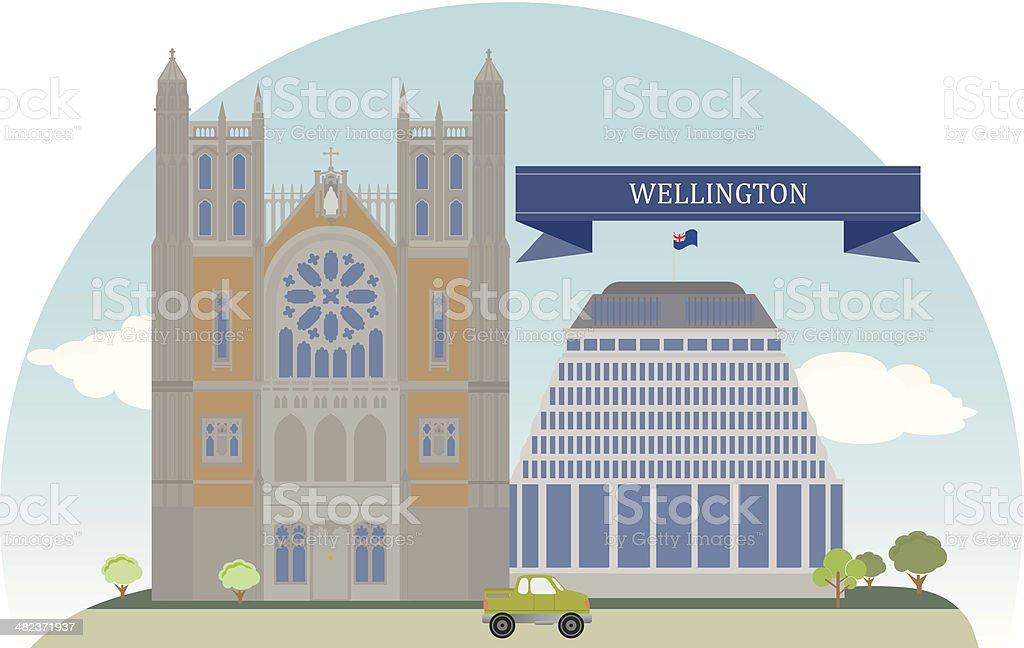 Wellington, New Zealand vector art illustration