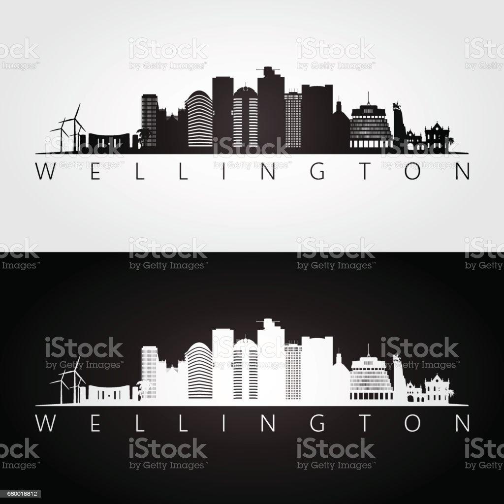 Wellington skyline and landmarks silhouette, black and white design, vector illustration. vector art illustration