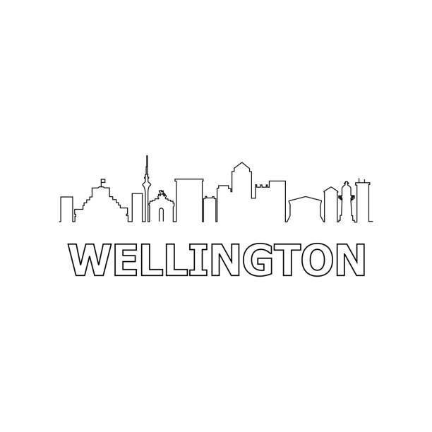 ilustrações de stock, clip art, desenhos animados e ícones de wellington skyline and landmarks silhouette black vector icon. wellington panorama. new zealand - wellington