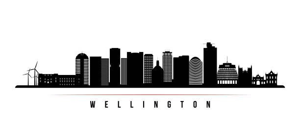 ilustrações de stock, clip art, desenhos animados e ícones de wellington skyline horizontal banner. black and white silhouette of wellington, new zealand. vector template for your design. - wellington