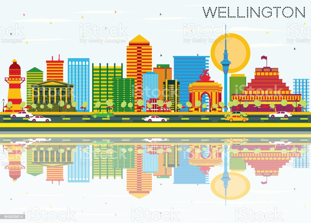 Wellington Skyline with Color Buildings, Blue Sky and Reflections. vector art illustration