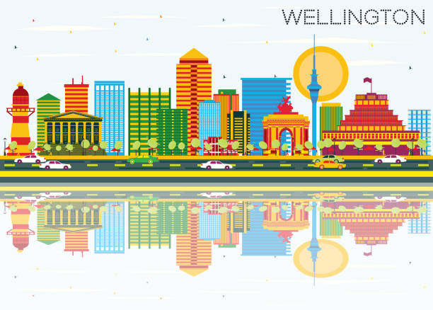 ilustrações de stock, clip art, desenhos animados e ícones de wellington skyline with color buildings, blue sky and reflections. - wellington