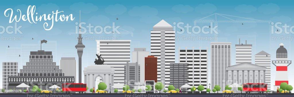 Wellington skyline with grey buildings and blue sky. vector art illustration